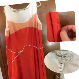 Dress Barn Orange and white dress, size 22